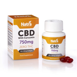 Natra CBD with Curcumin 750mg Group & Softgels_REFLECTION